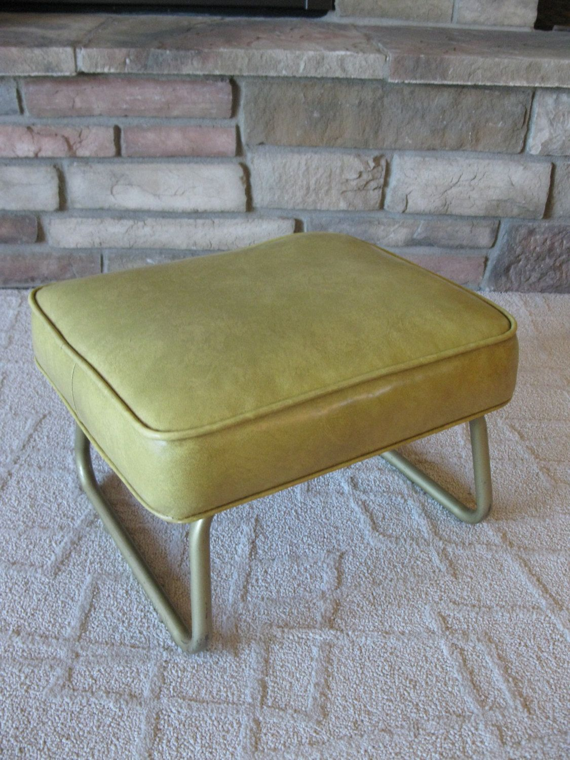 Laz E Rest Ottoman Gold Adjustable Footstool Hassock Vinyl Rectangular Shape Crawford Mfg Co Mid Century Adjustable Footstool Footstool Ottoman