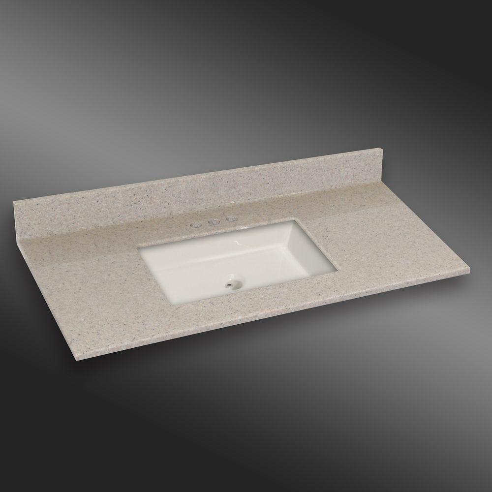 49 Inch W X 22 Inch D Granite Square Centre Basin Vanity Top In