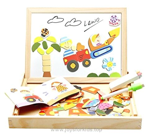 Lewo Boys Toys Magnetic Easel Wooden Double-face Dry Erase ...