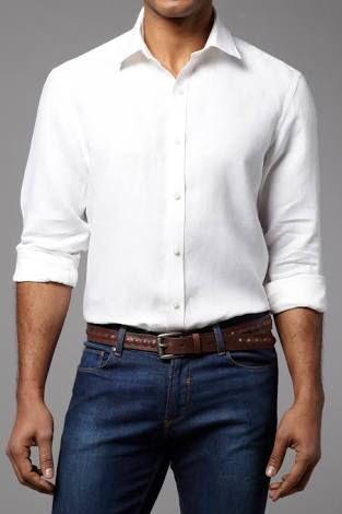 0145c54c5976 White Linen Shirt & Blue Jeans. | Mode homme | Blue jeans outfit men ...