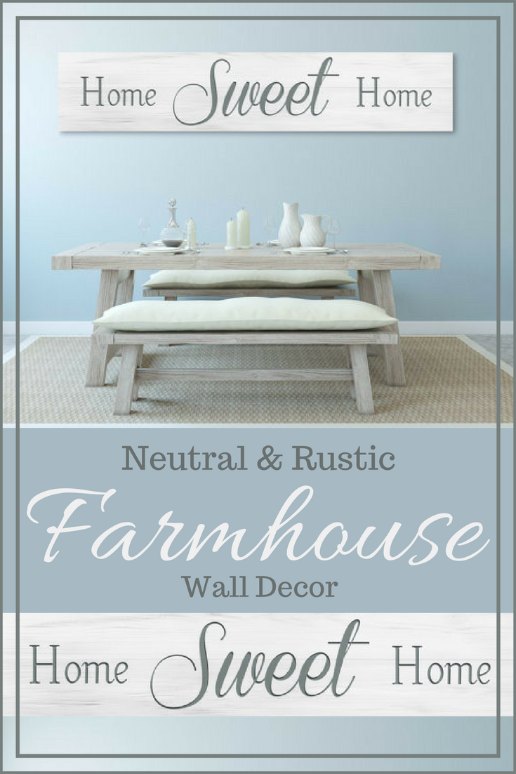 Love This Neutral Farmhouse Dining Room Setup The Wall Sign Is Rustic And Large
