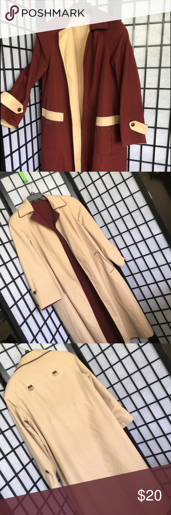 Vintage - Reversible All Weather Coat Reversible All Weather Coat. Burgundy & Cream/Tan.  Great Condition! Etienne Aigner Jackets & Coats