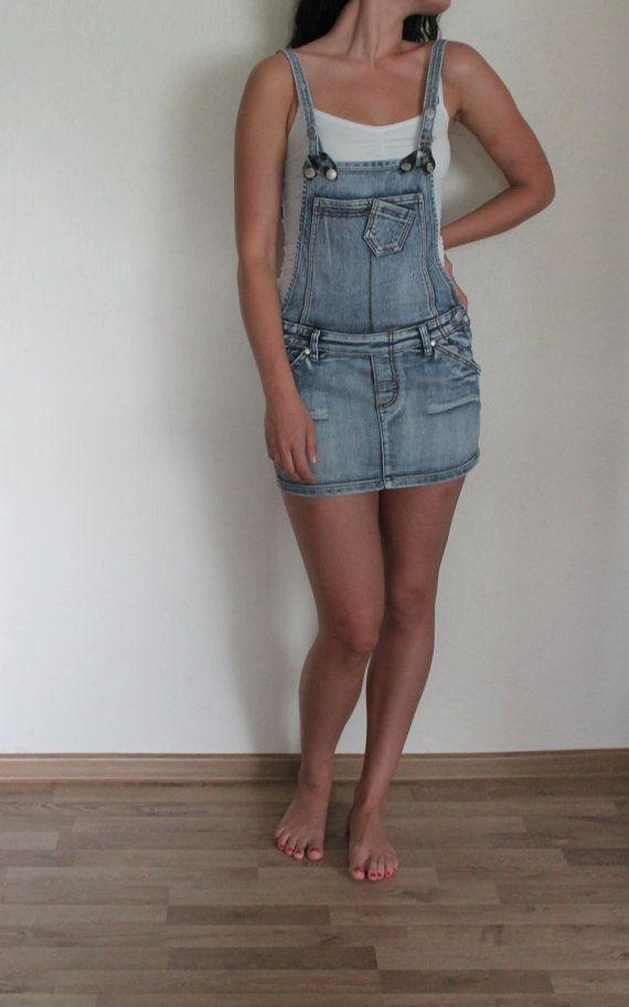 f081f631ea Blue Denim Jumper Dress Overall Bib Dress Cotton Jeans Sarafan Mini ...