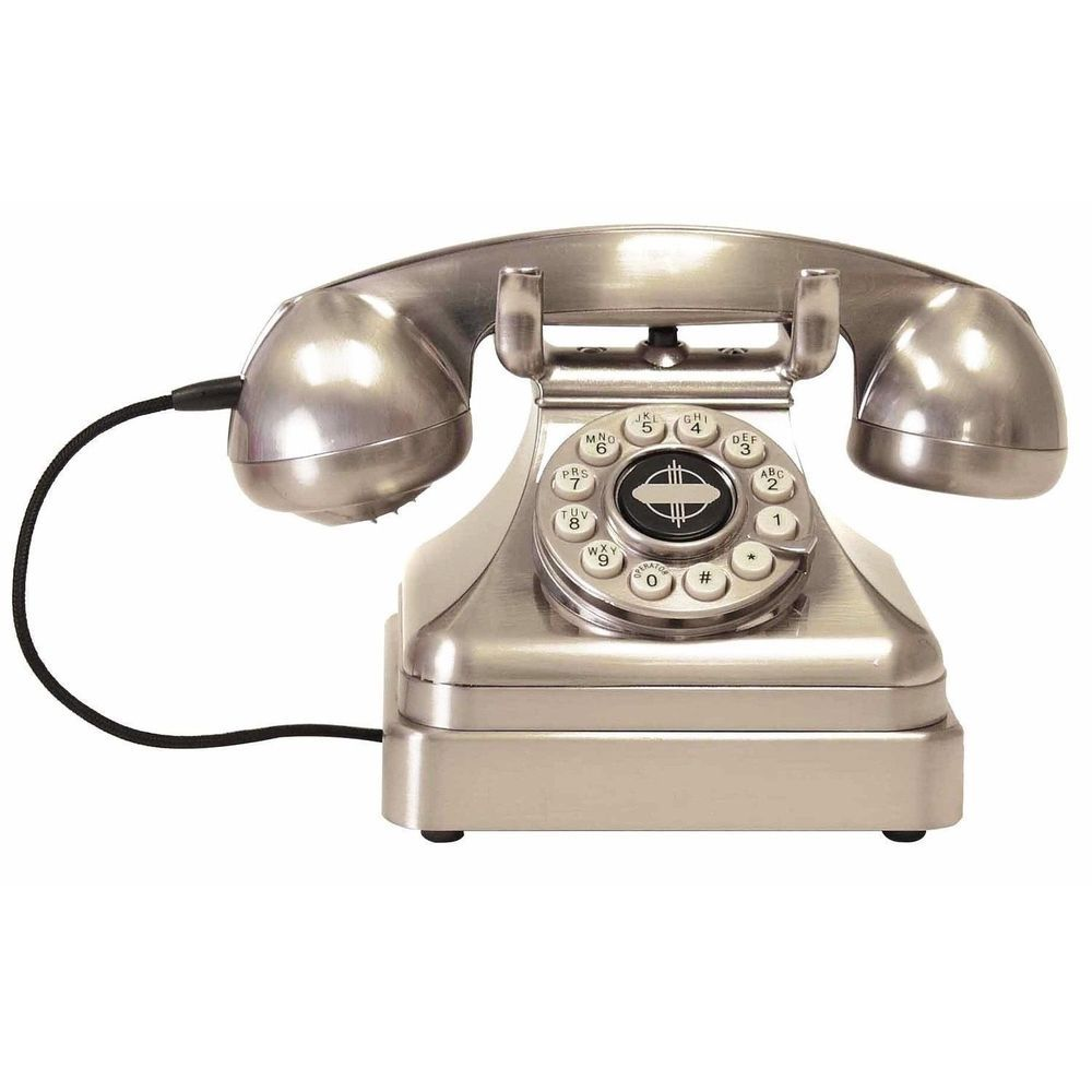 Retro Silver Desk Phone Vintage Chrome Telephone Home