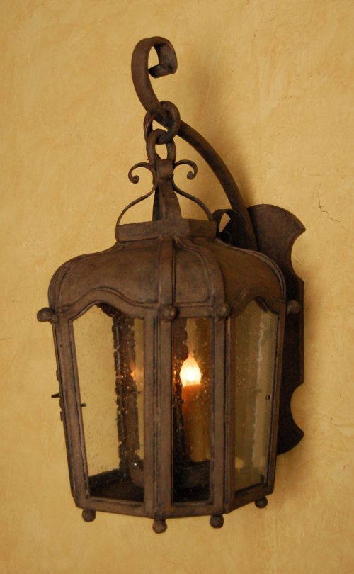 Wrought iron outdoor lantern perfect for a spanish style for Hacienda style lighting