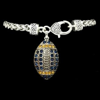 Navy and Yellow Gold Football Decorative Clasp Bracelet