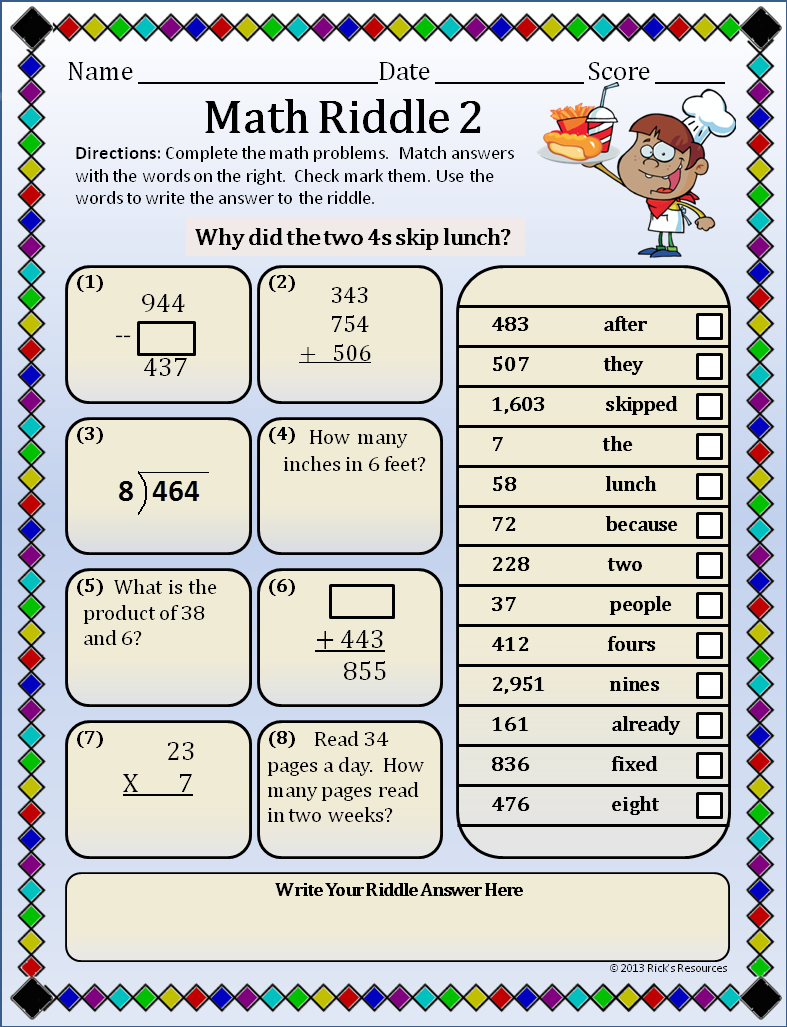 This Is A Page From The Math Riddles Packet Productive Puzzles Series These Math Problems Are Appropriate For Kids 8 11 Years Old Math Riddles Fun Math Math