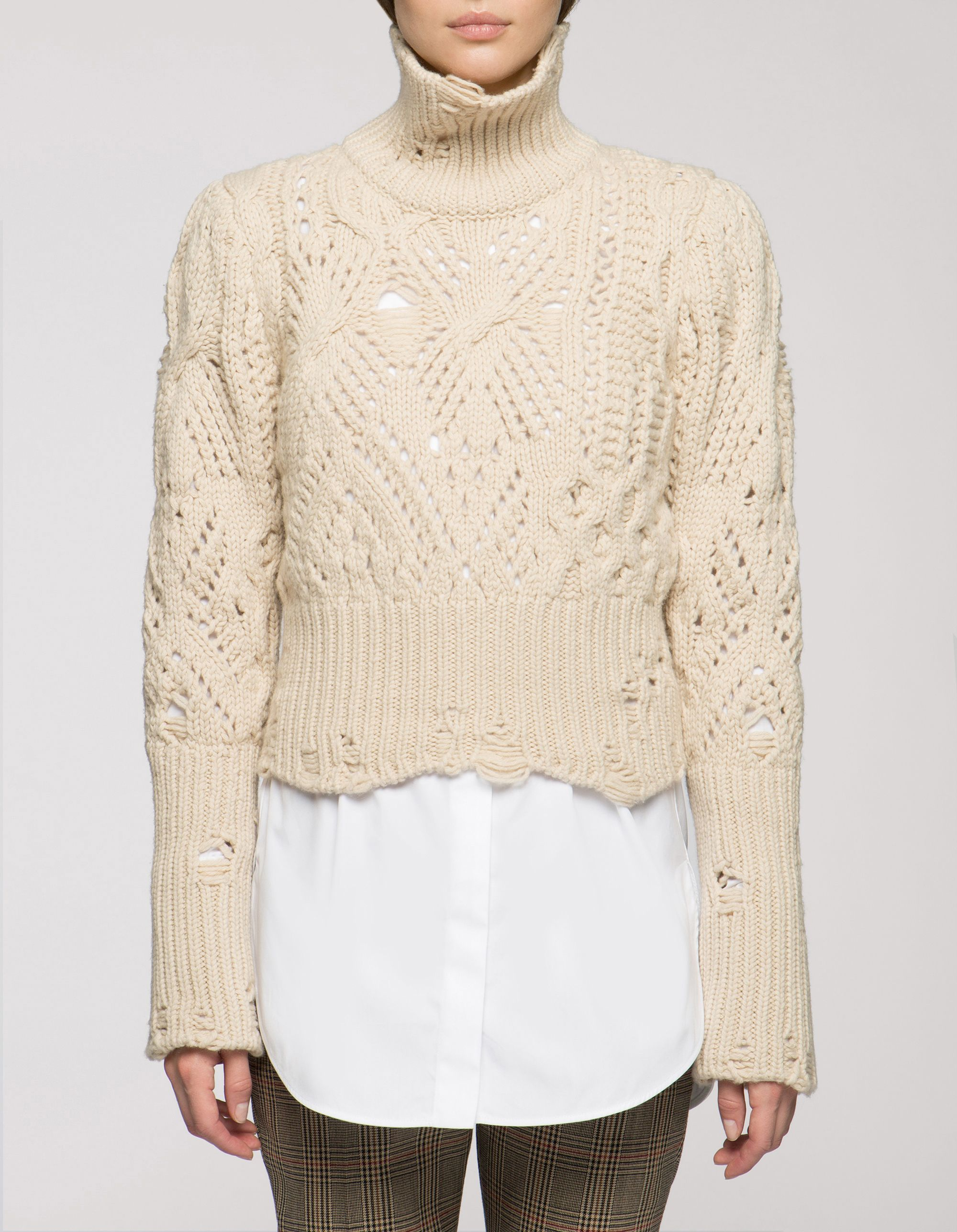 brand new 42cd6 26167 Maglione cropped in lana e cachemire - Maglieria Donna ...