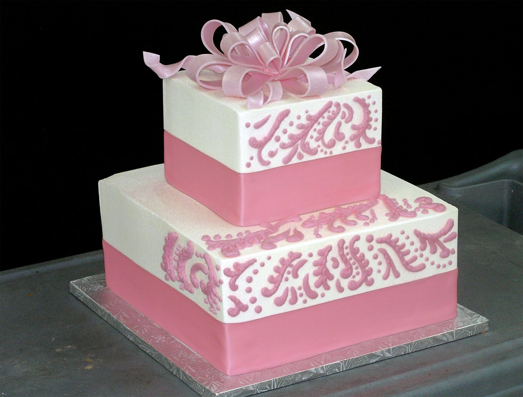 Pink and white cake Cakes Pinterest Square wedding cakes
