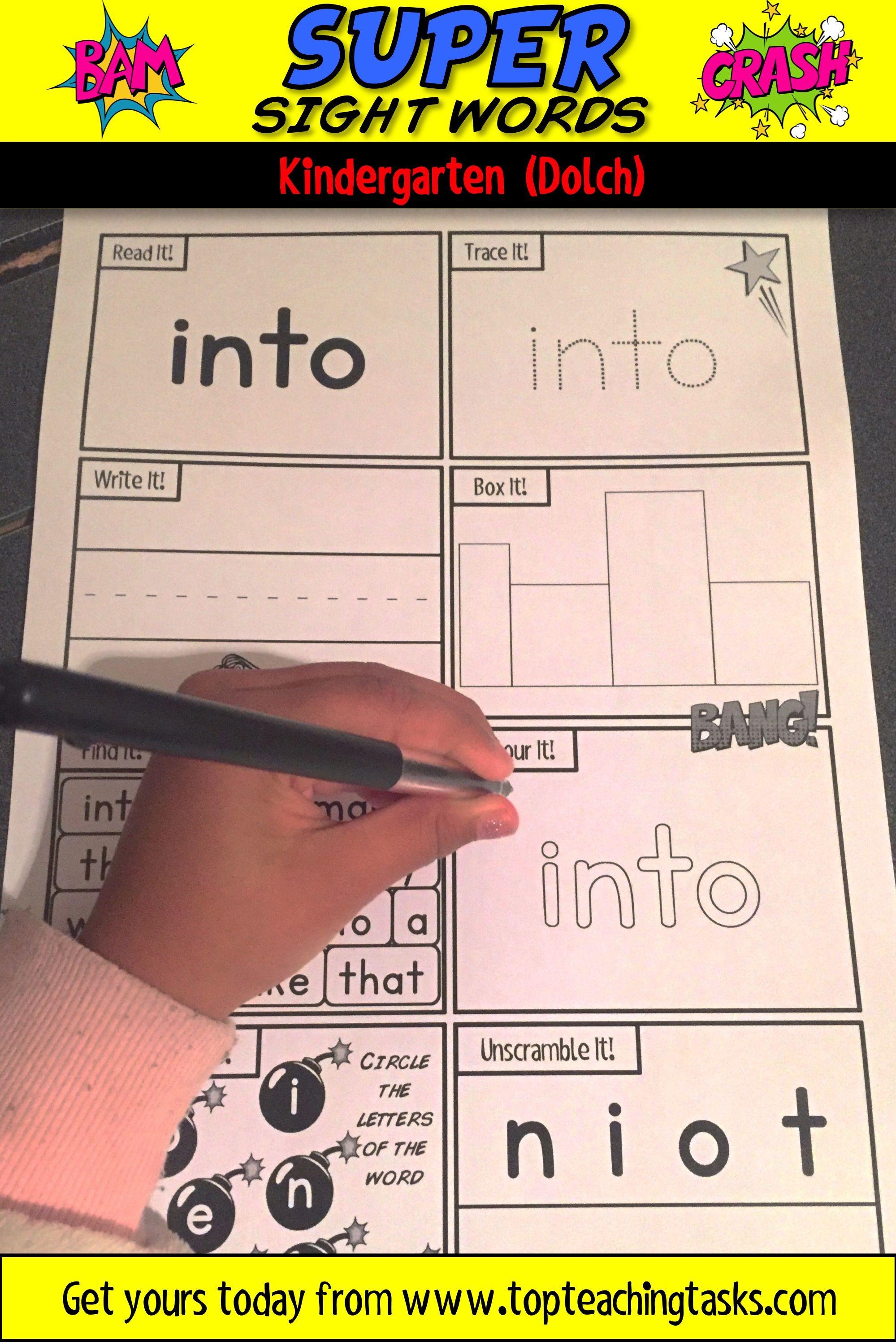 Kindergarten Sight Words Activity Worksheets Dolch