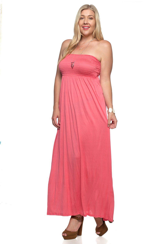 Maxi tube dress with elastic bustline dresses tube