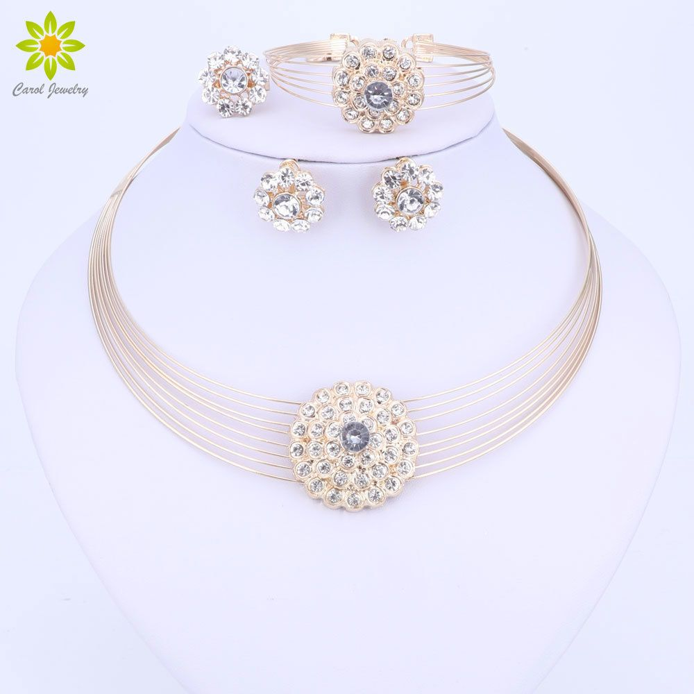 African beads jewelry sets for women dubai gold color costume design