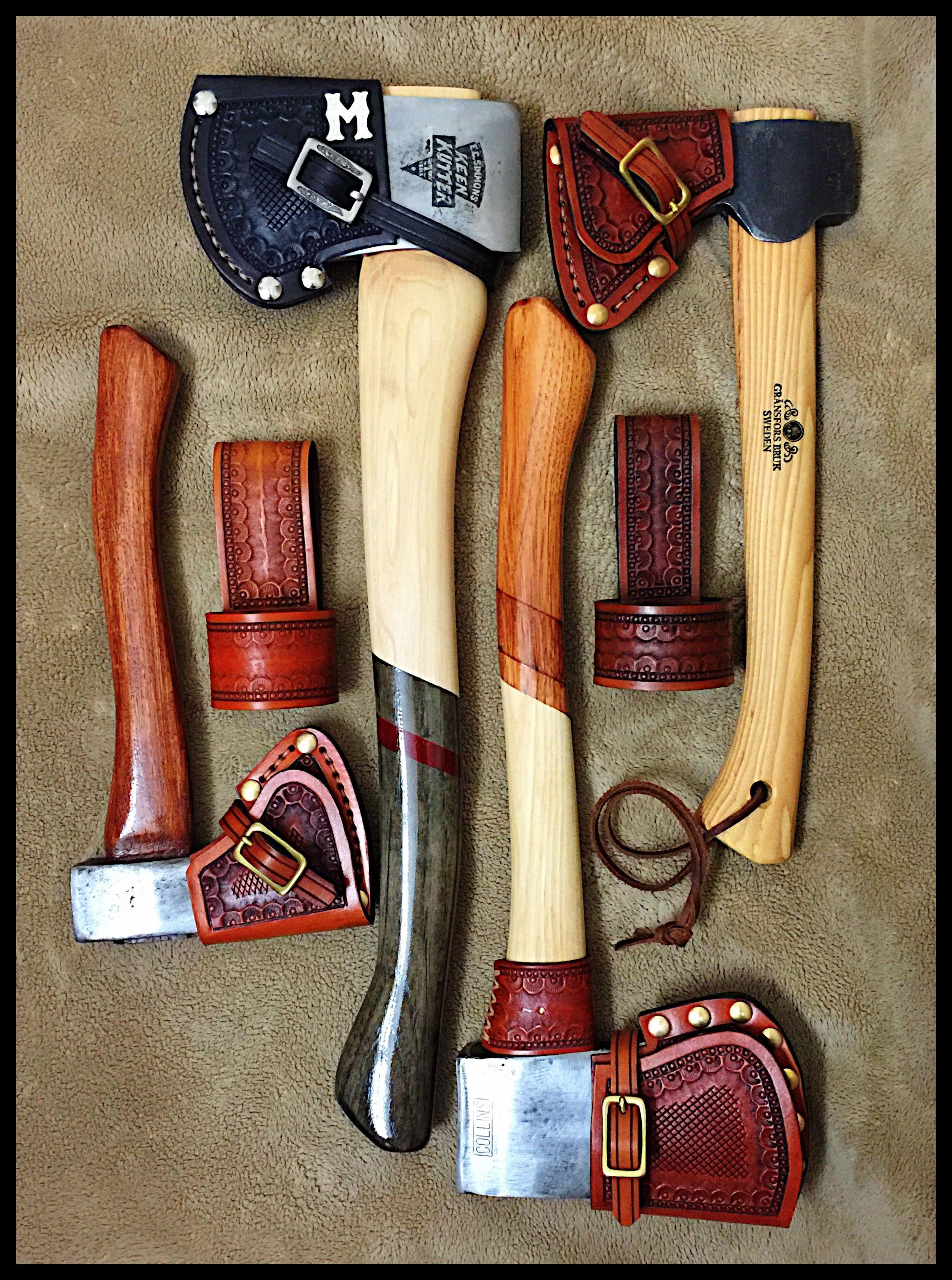 Custom leather work for gator knife by john black