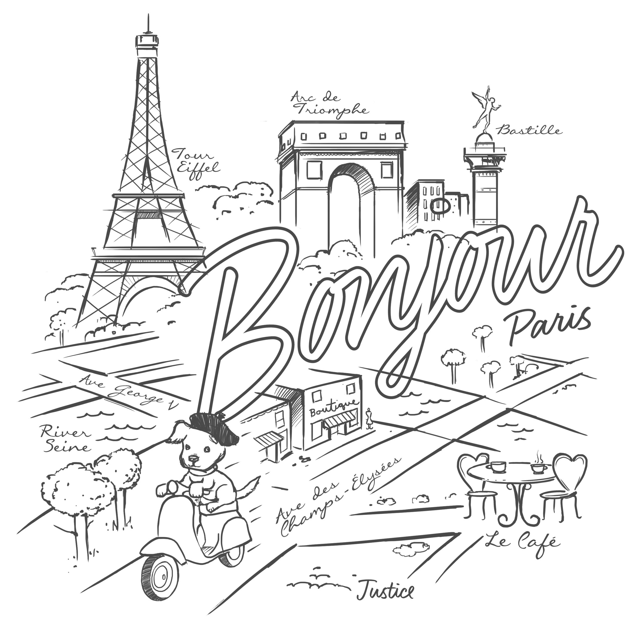 Feeling creative? Oui oui! Print this coloring page and make it ...