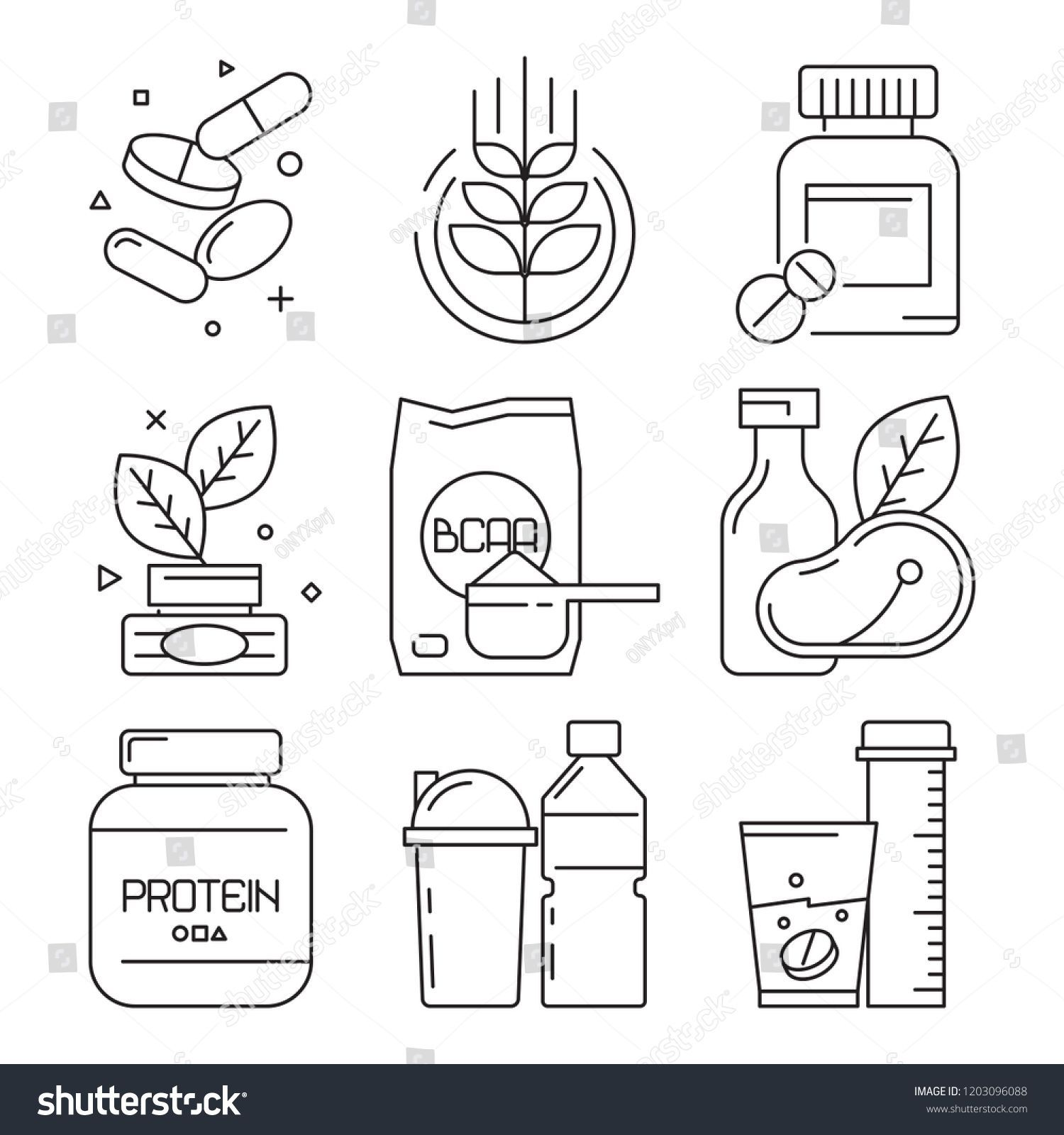 #BCAA #Container #dietary #drinks #Fitness #FitnessFoodillustration #Food #Icons #illustration #line...