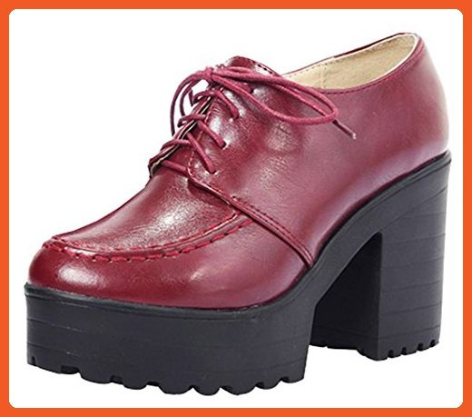 a479d5dac71 IDIFU Women s Vintage High Chunky Heels Platform Low Top Lace Up Oxfords  Shoes Wine Red 5.5 B(M) US - Oxfords for women ( Amazon Partner-Link)