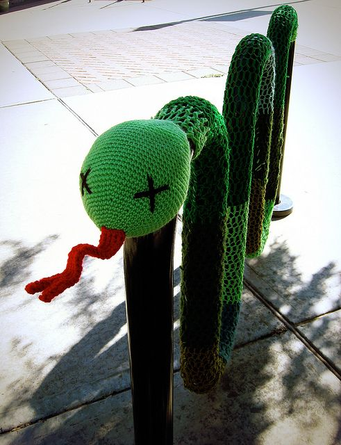 "a fave, since it is a real ""thing"". Yarn Bombing! by dorsia, via Flickr, straight from the source -- the crocheter posted the photo."