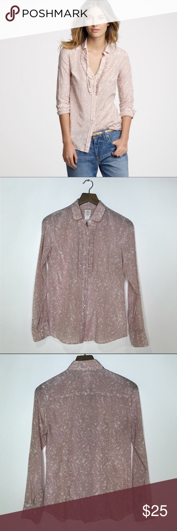 """[J Crew] Ruffle Front Vine Print Perfect Shirt Top Classic J. Crew button down perfect shirt. Long sleeves with button cuffs. Ruffle detail down front. Pretty allover pink vine print. Lightweight cotton and silk blend. Style 17483.  🔹Fabric: 57% Cotton 43% Silk 🔹Bust: 36"""" 🔹Length: 25"""" 🔹Condition: Excellent pre-owned condition.     *B36 J. Crew Tops Button Down Shirts"""
