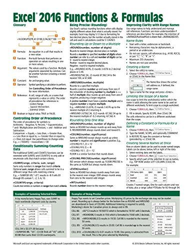 Microsoft Excel 2016 Functions \ Formulas Quick Reference Card - reference sheet examples