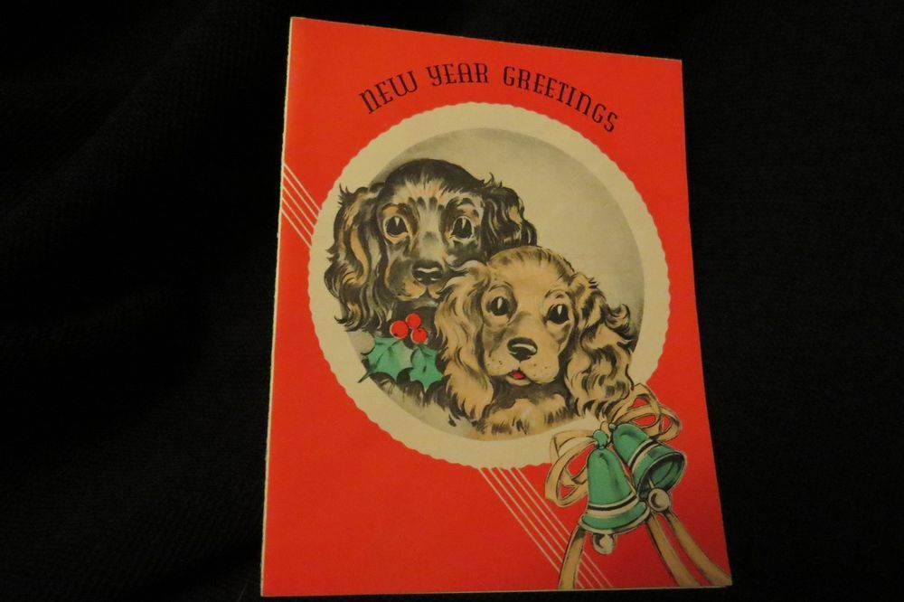 Vintage ART DECO COCKER SPANIEL New Year Card c. 1920s
