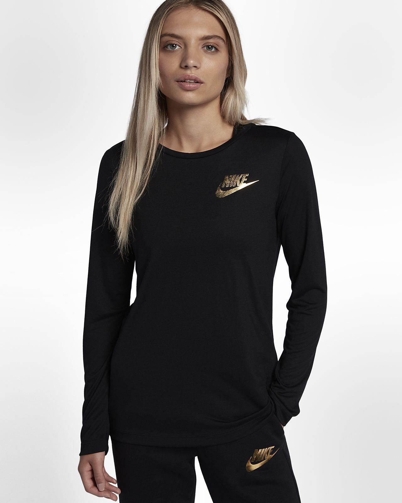 Nike Sportswear Essential Metallic Women S Long Sleeve Top Women Long Sleeve Tops Long Sleeve Tshirt Men Tops