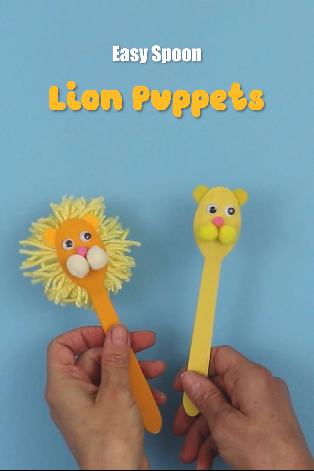Easy spoon puppet lion craft for kids fith a fluffy yarn mane. This makes a fun DIY toy, or a Lion King themed craft kids will enjoy making and then incorporating into play #lion #lionking #lioncraft #lioness #spoonpuppet #spooncraft #yarn #puppetcraft #kidsactivity #creativefun #kidscrafts #puppet #thecrafttrain