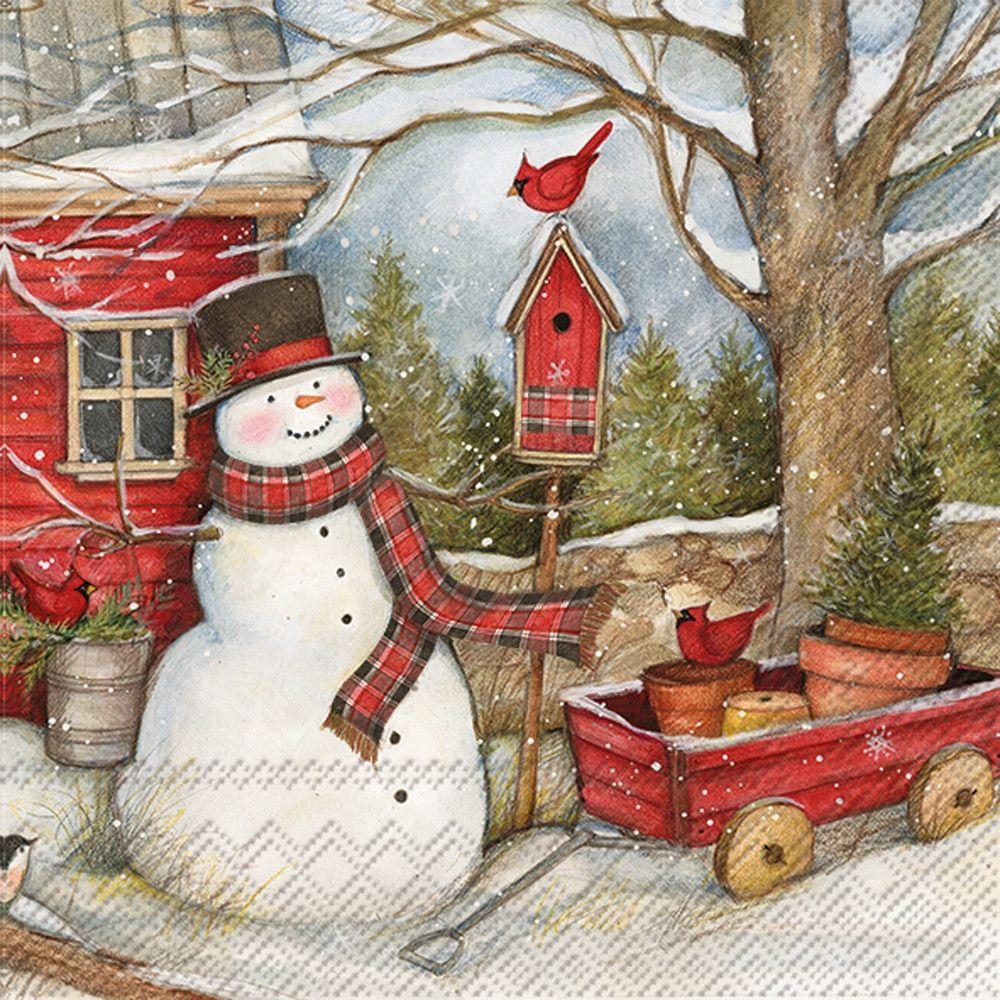 Snowman Barn Decoupage Napkin Christmas Paper Napkins