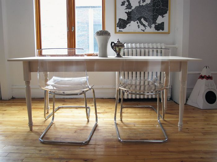 hmmm.... our chairs, with a traditional kitchen table