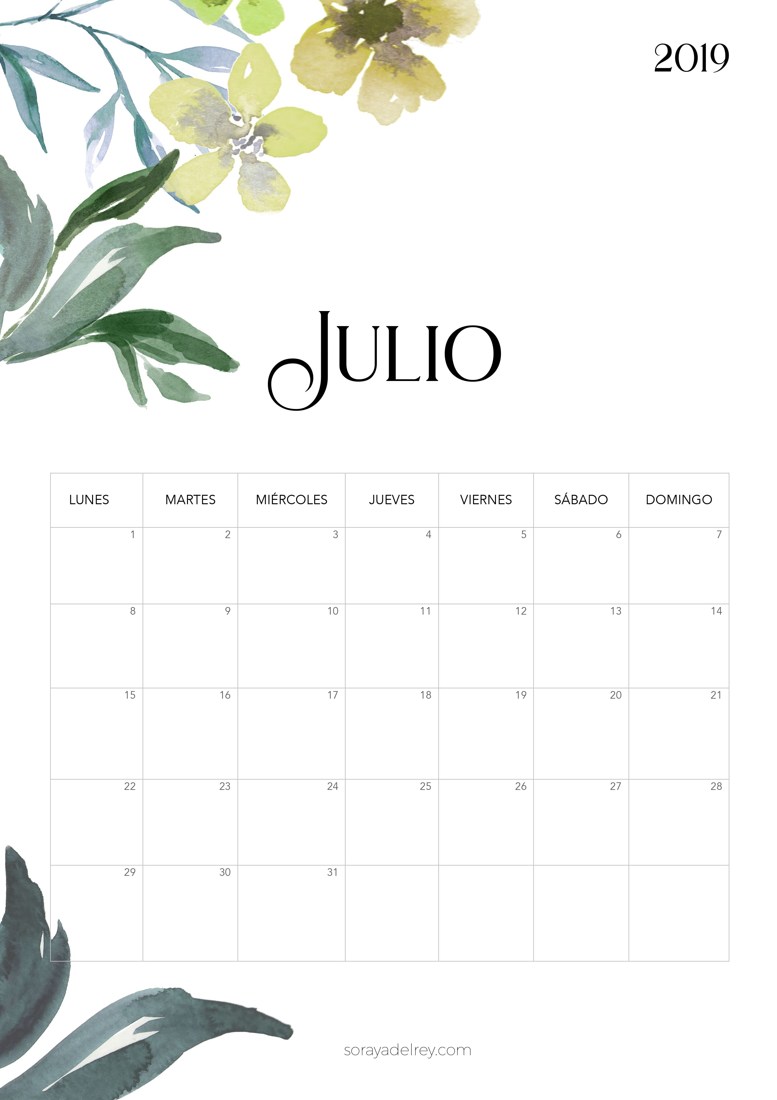 Calendario Julio 2019 Mr Wonderful.Calendario Para Imprimir 2018 2019 Calendario