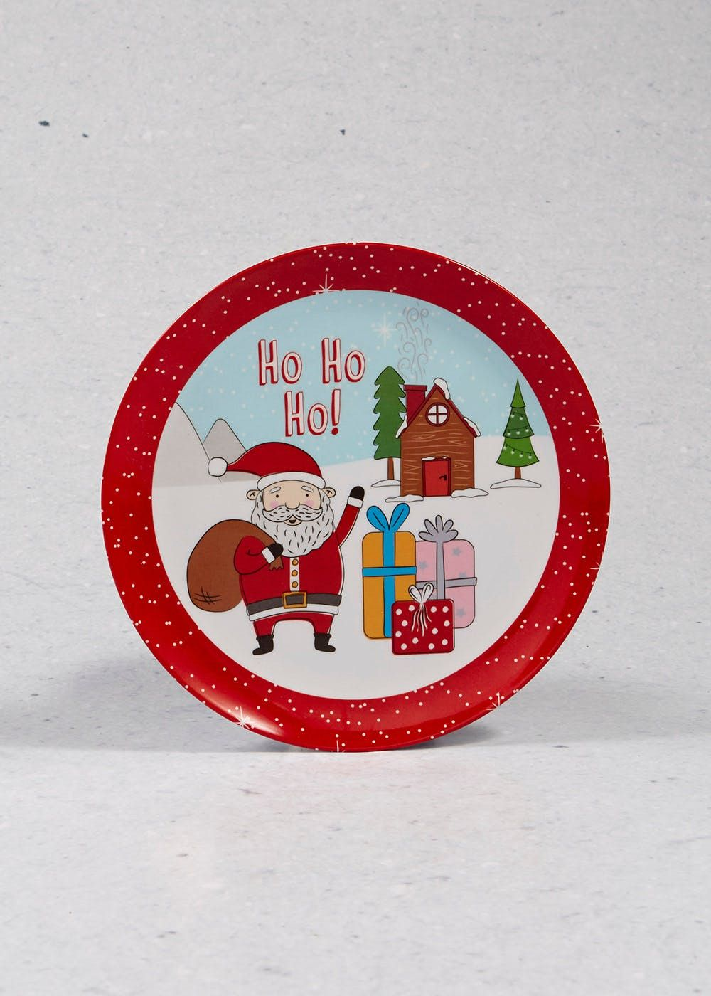 Santa Christmas Plate (20cm) Red Gift decorations