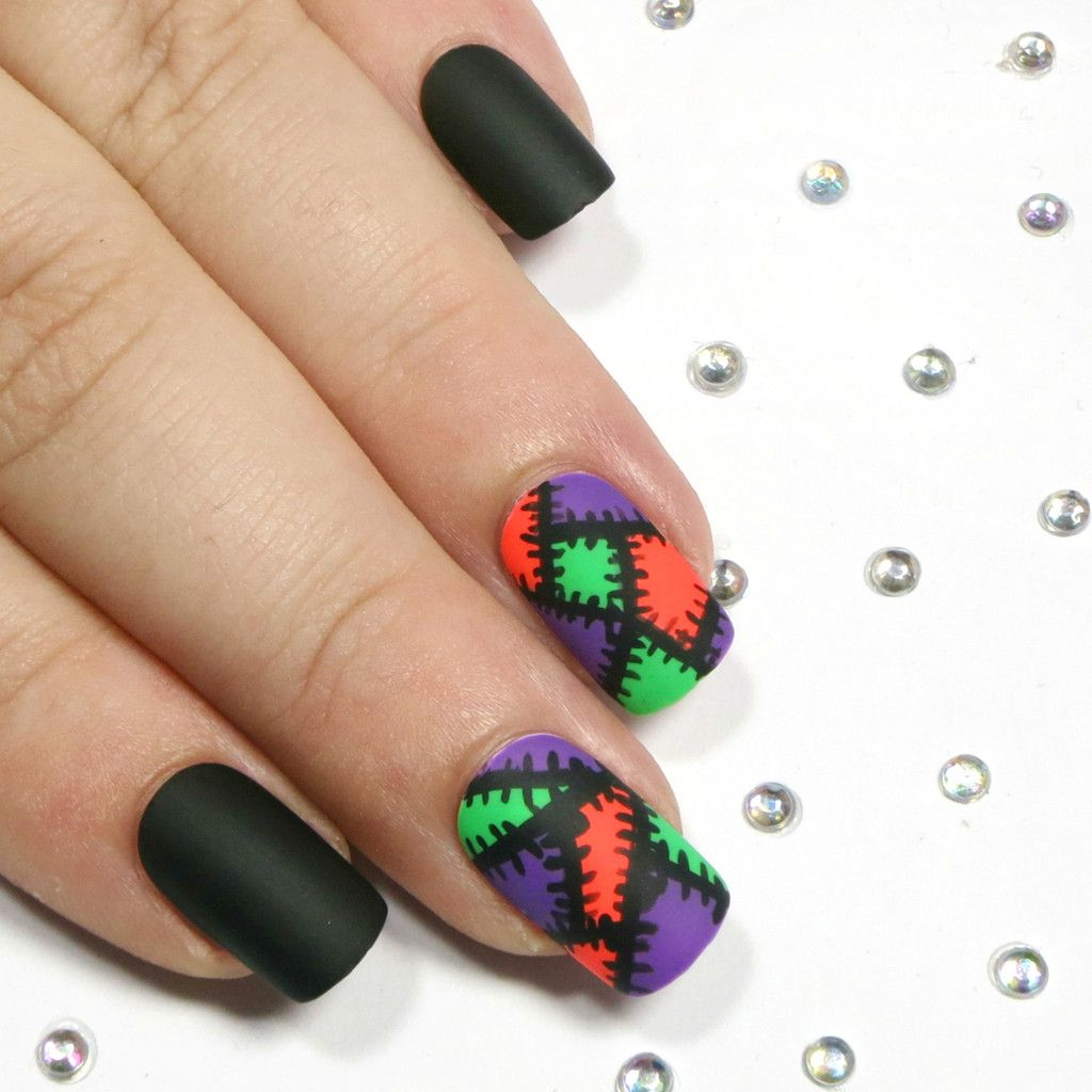 Halloween Nails Short Square Matte Black With Purple Green And Orange Patchwork Purple Nail Art Black And Purple Nails Purple Nail Designs