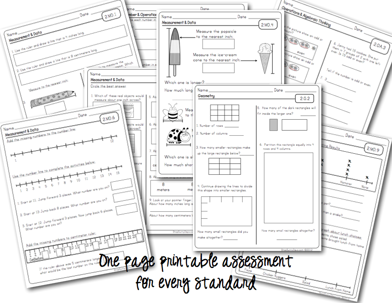 Sunny Days In Second Grade Common Core Math Assessment Packet I