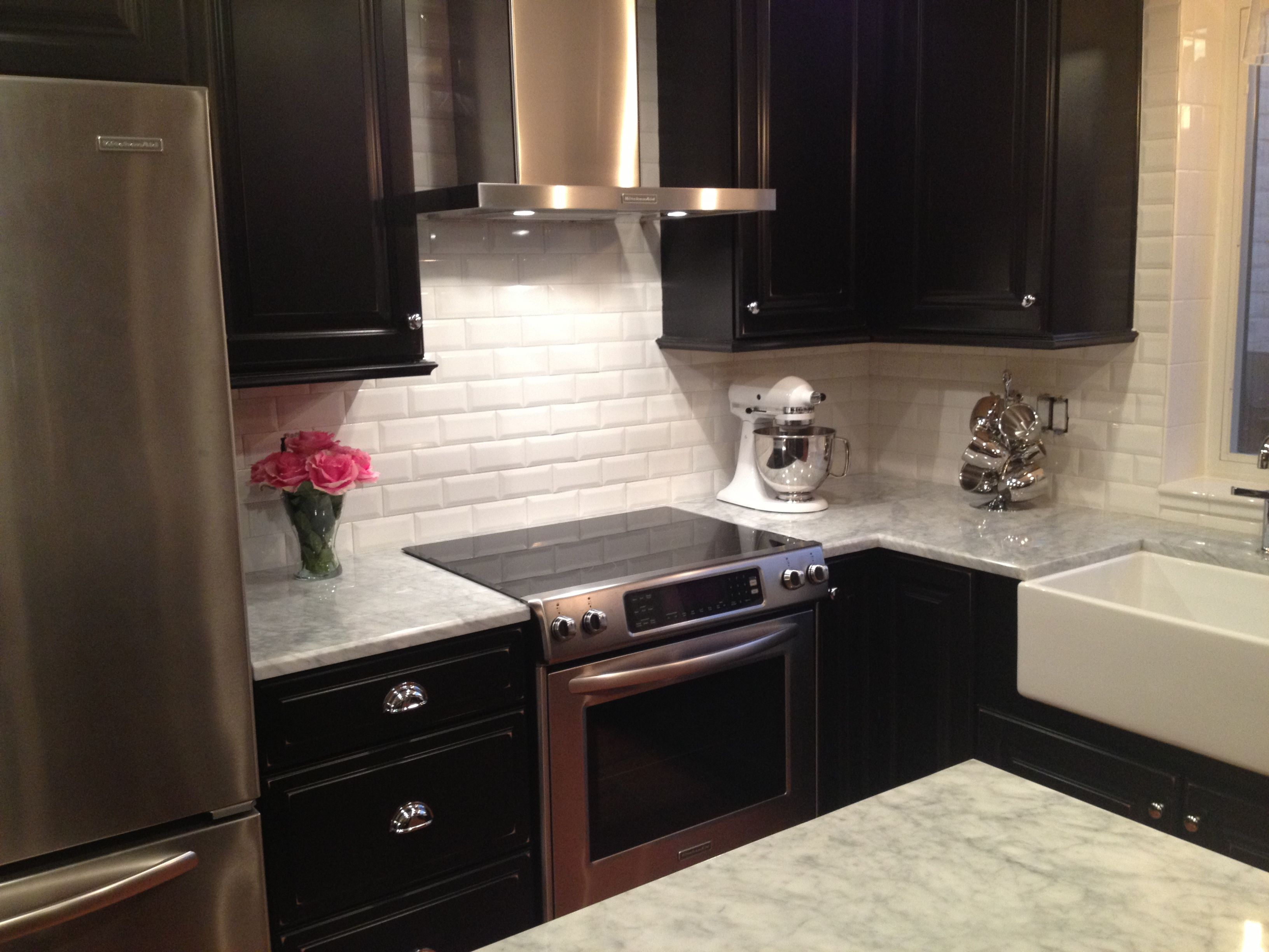 White Beveled Subway Tile Kitchen Dark Kitchen Cabinets