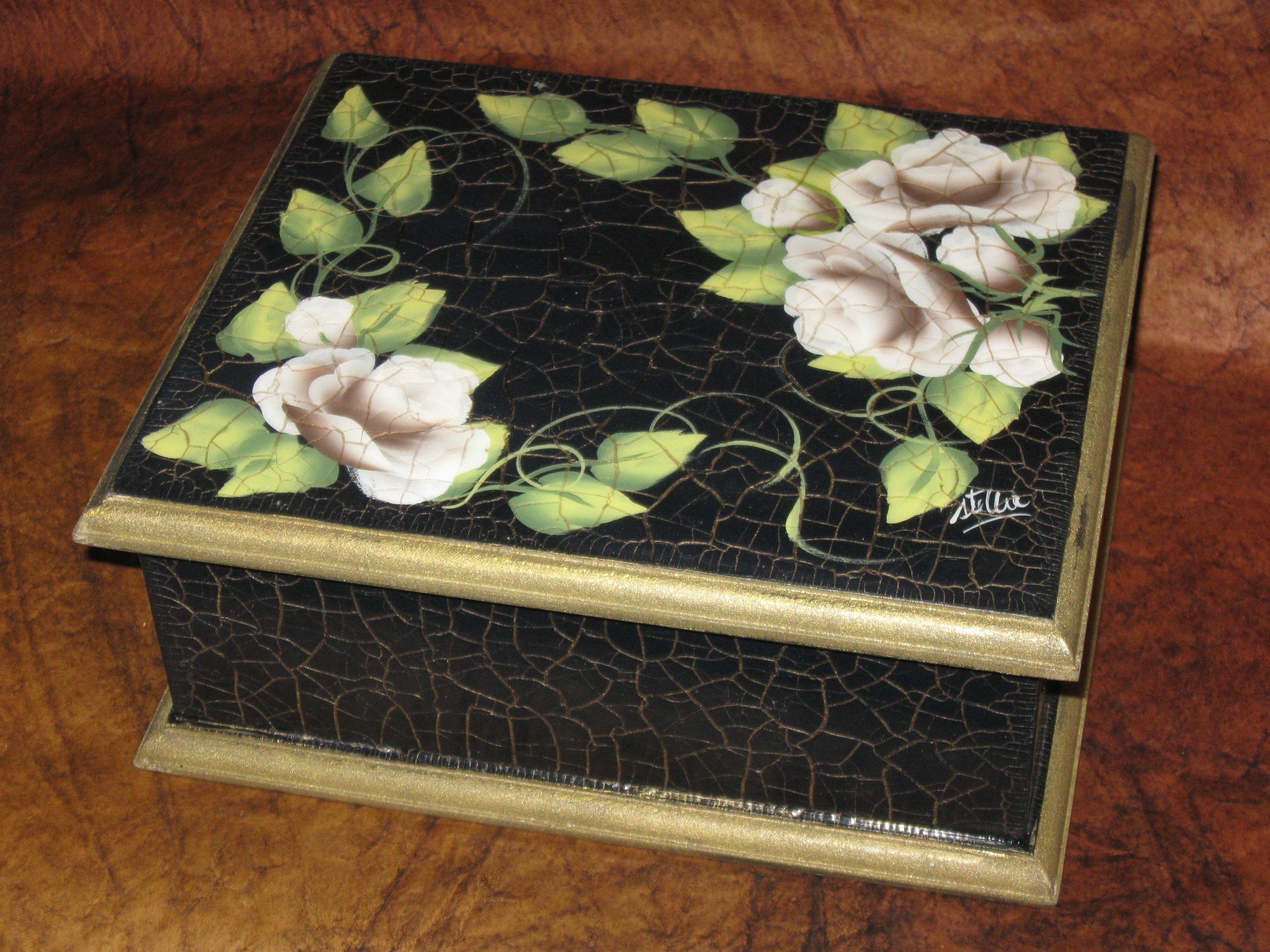 Caja de t craquelada x 6 divisiones pintada a mano - Cajas decoradas a mano ...