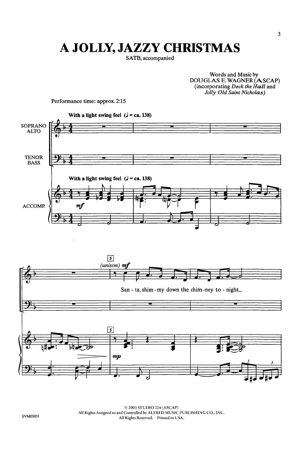 Jolly, Jazzy Christmas (SATB ) by Douglas Wa   J W  Pepper