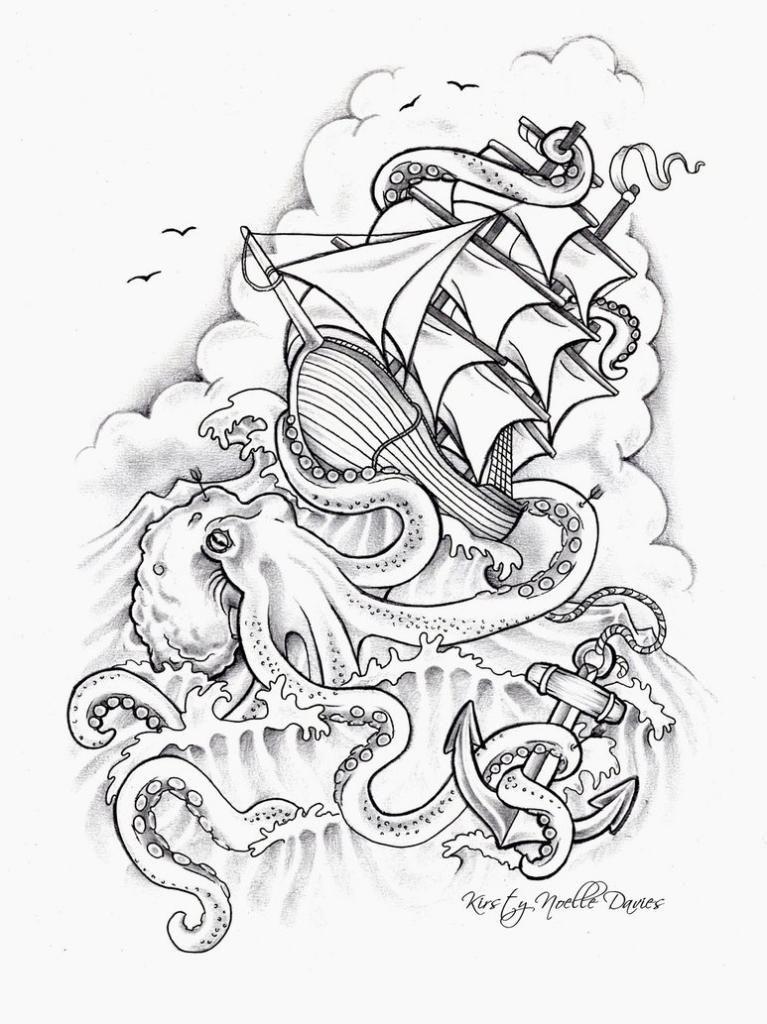 Kraken tattoo   My Library   Pinterest   Schiffe, Punzieren und Anker