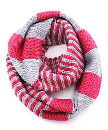 Loving this Hot Pink & Gray Stripe Infinity Scarf on #zulily! #zulilyfinds