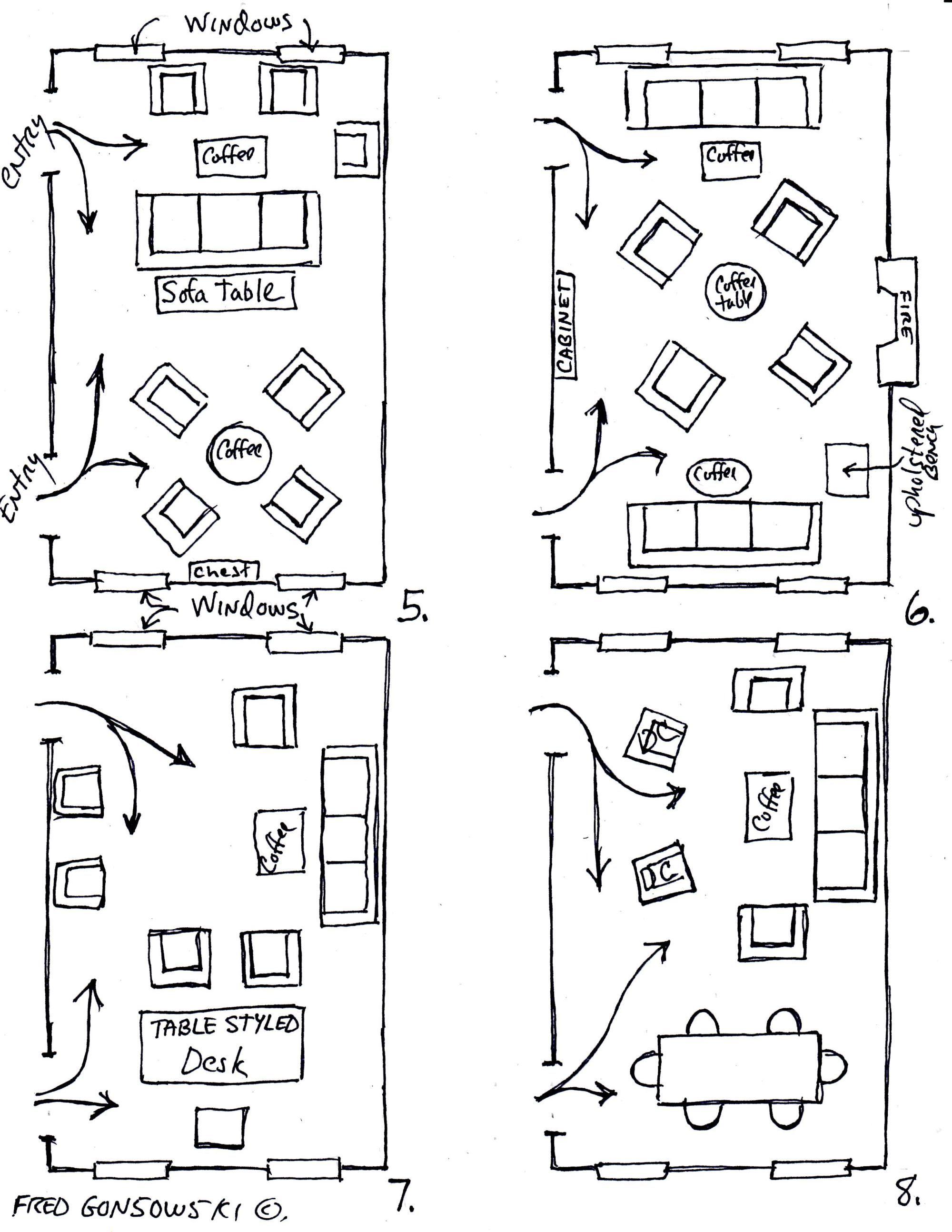 Arranging Furniture Twelve Different Ways In The Same Room