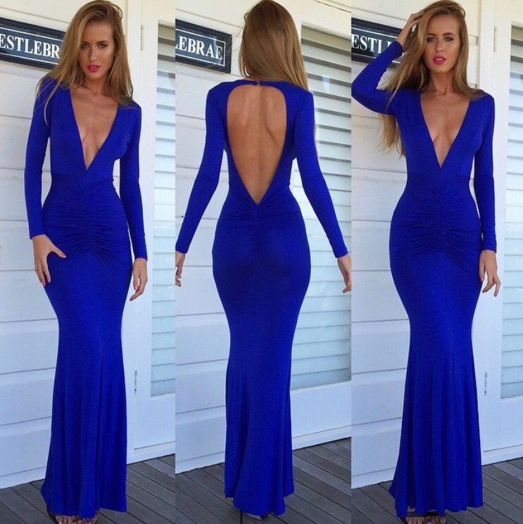 Blue maxi dress. So sexy