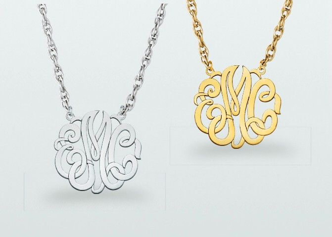 15mm Monogram Necklace Available In Sterling Silver White Yellow Or Pink Tone 10k White Or Yellow Gold And 14k White Yellow Or Pink G Fine Jewelry Stores