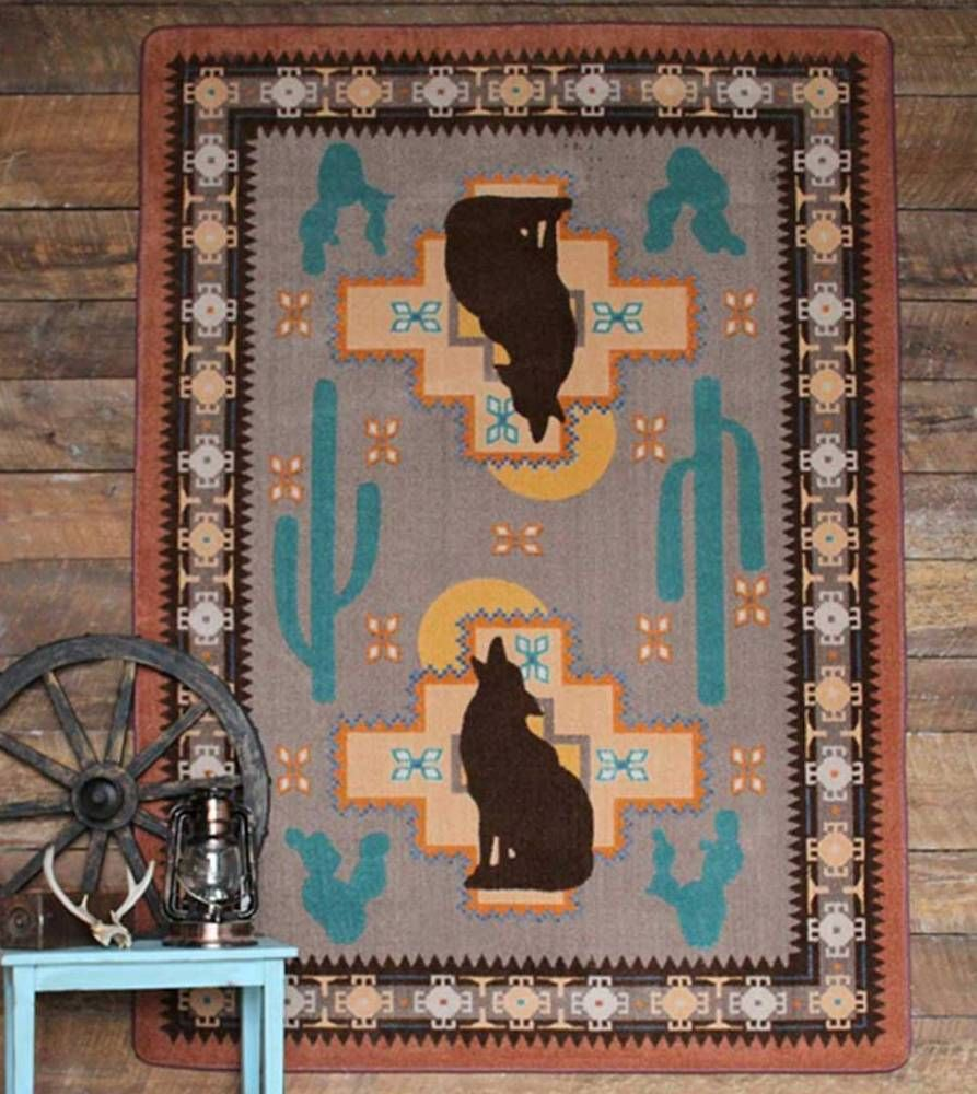 The Howl At The Moon Southwestern Themed Rug Features A Desert Rose And Turquoise Teamed With Rust And Brown Tones Southwestern Area Rugs Rugs Southwestern Rug