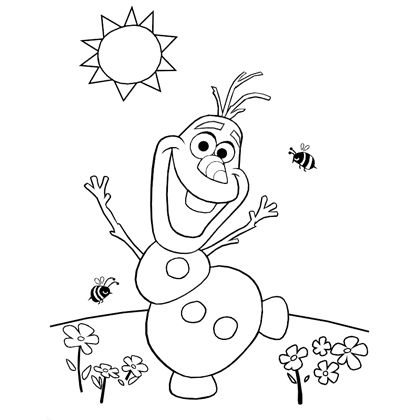 Anna And Olaf Laughing Frozen Anna Olaf Happy Coloring Pages