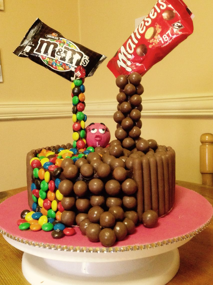 Anti gravity Malteaser and M&M cake