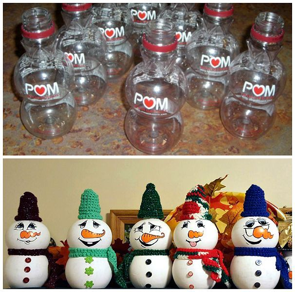 Today I get to feature Darra Taylor-Studebaker's adorable little snowmen crafts made from empty pomegranate bottles! How clever is this!? Just empty the bottles and clean them out. Then paint them white and add a face/buttons. Darra actually crocheted the little hats and scarves too…so cute to put out for winter decorations! (empty bottle photo …