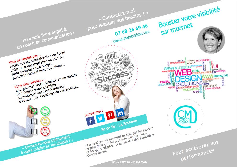 COACH EN COMMUNICATION WEB - Création du flyer présentant mon activité et les services proposés (3 volets recto) #communication #digitale #freelance