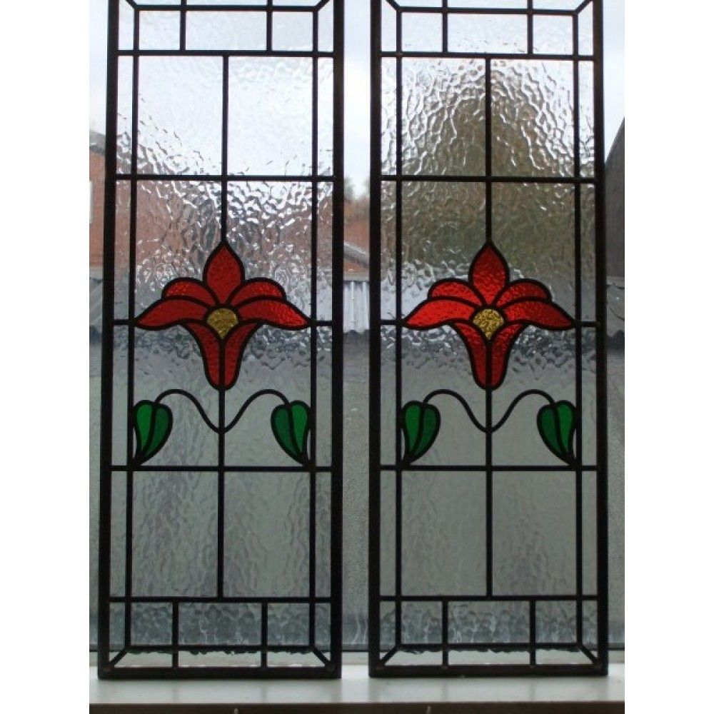 040 hand made stained glass panel stunningly simple for Window panel design