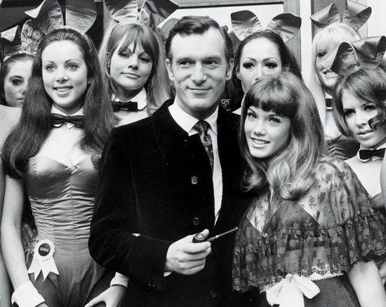 Hugh Hefner with 19-year-old girlfriend Barbi Benton, London, 1969.