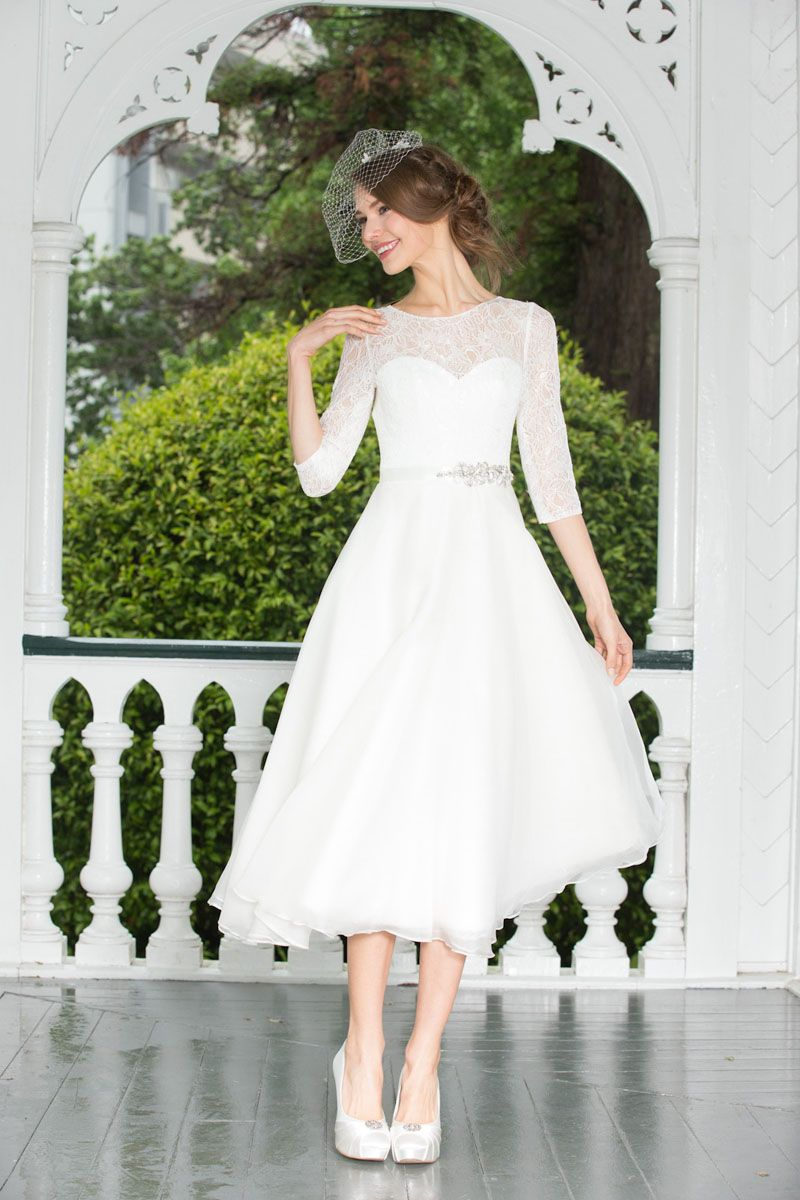 599743199da78 Three-quarter Sleeves Short Tea Length Lace Chiffon Wedding Dress ...