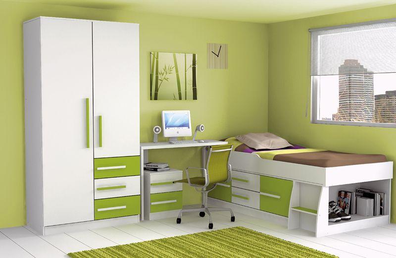 dormitorio juvenil verde y blanco
