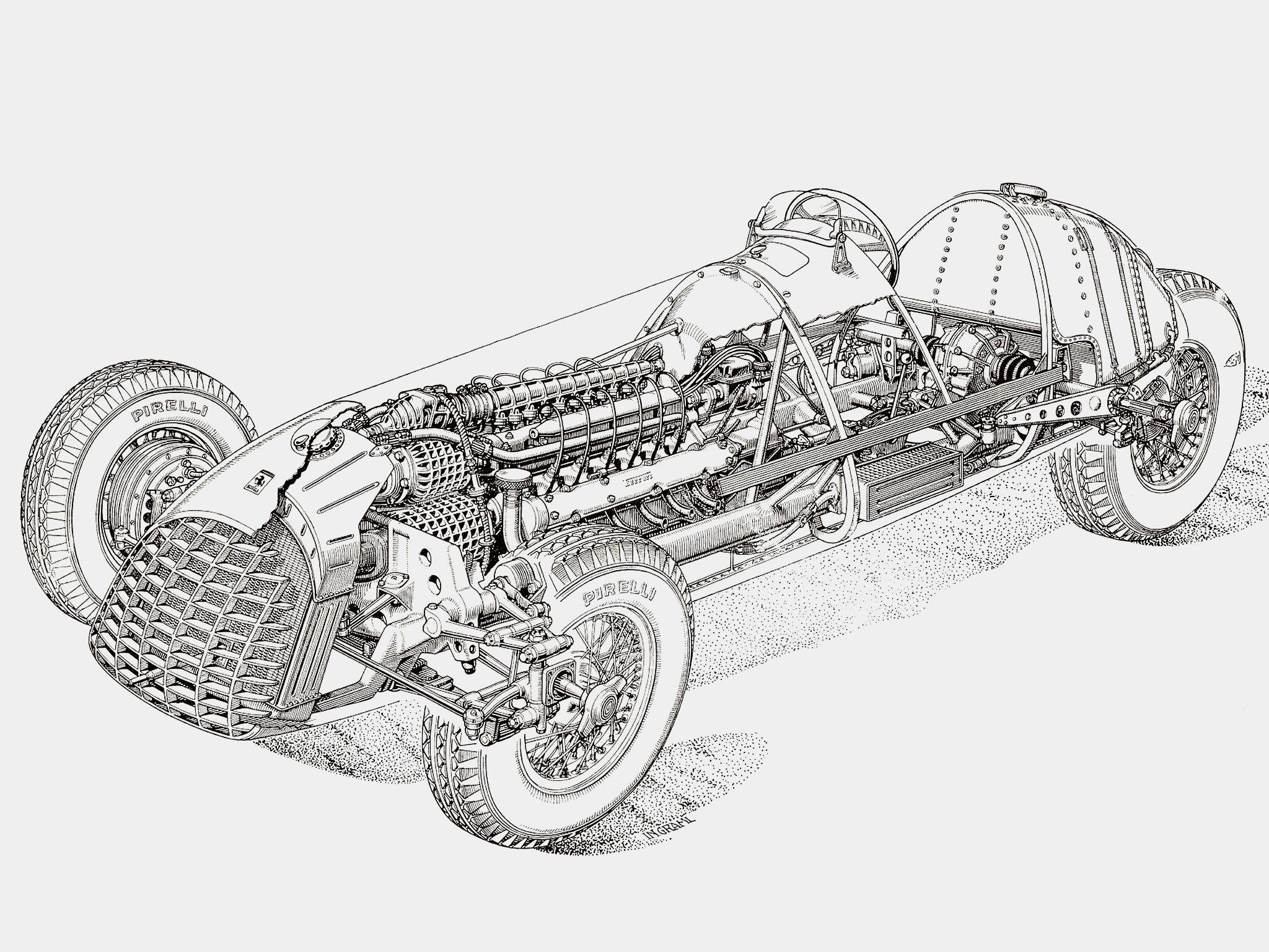 1948 1950 Ferrari 125 Formula Illustrator Uncredited